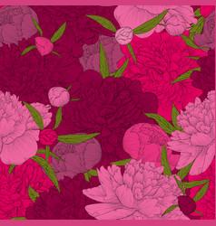 Beautiful seamless background pink peonies vector