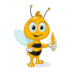 Bee with a candle vector