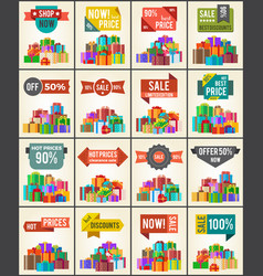 Big collection of best prices promo posters boxes vector