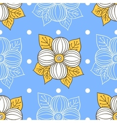 Big Flowers On Blue vector