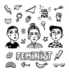 Black and white feminist symbols set feminist vector