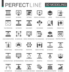 black classic 3d modeling and printing web icons vector image