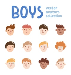 Boys colorful avatars collection vector image