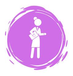 businesswoman purple circle portrait stamp style vector image