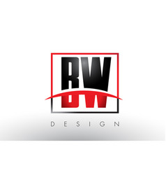 Bw b w logo letters with red and black colors and vector