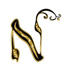 Calligraphic hebrew alphabet with crowns vector