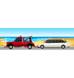 Car and truck parked on the road vector