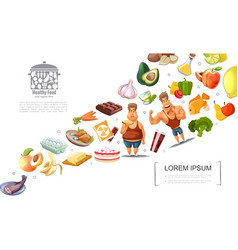 Cartoon healthy lifestyle concept vector