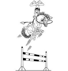Cartoon high equestrian jump outline vector