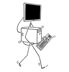 cartoon of walking desktop computer with monitor vector image