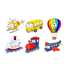 cartoon transport set air balloon helicopter vector image