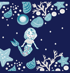 childish print cute mermaid seashells marine vector image