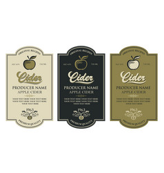 cider labels set vector image
