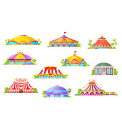 Circus marquees and big top tent buildings vector