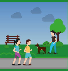 Couple walking and man with dog in the park scene vector