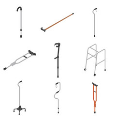 crutches icon set isometric style vector image