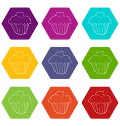 cupcake icons set 9 vector image