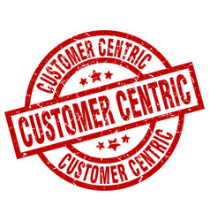 Customer centric round red grunge stamp vector