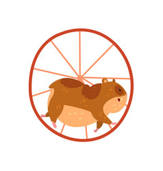 cute cartoon hamster character running in wheel vector image