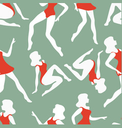 dancing pattern women dancing seamless pattern vector image