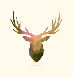 deer portrait color poly vector image