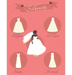 Different styles of wedding dresses vector