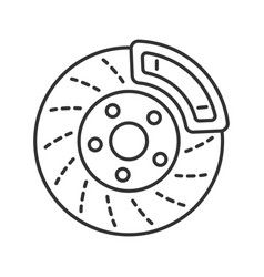 Disc brake with caliper linear icon vector