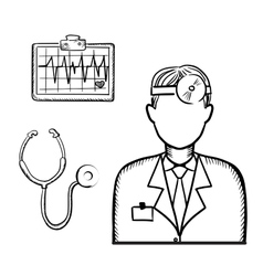 Doctor with stethoscope and cardiogram vector