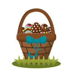 Easter eggs inside of hamber with ribbon bow vector