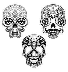 entangle stylized patterned skulls set vector image