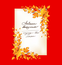 fall leaves orange card vector image