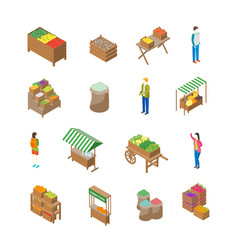 farm local market concept icon 3d isometric view vector image