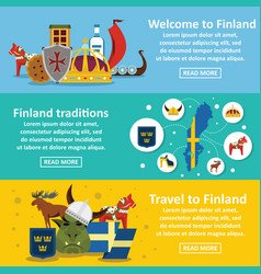 finland travel banner horizontal set flat style vector image
