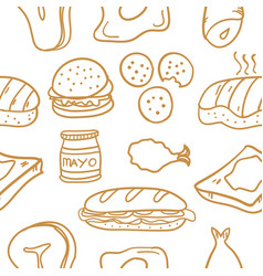 food various of doodle collection stock vector image