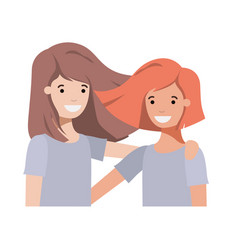 Friendly teenagers girls characters vector