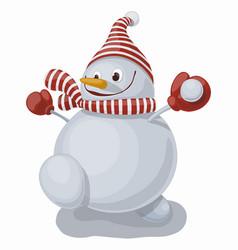 funny cartoon smiling snowman vector image