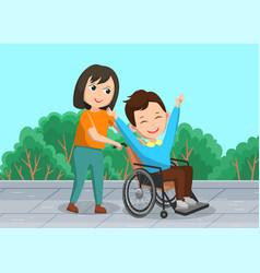 Girl helps sick man in wheelchair care vector
