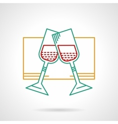 Glasses with wine thin color icon vector image
