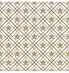 gold and white checkered and stars seamless vector image