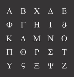 Greek letters icons set vector