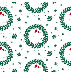 green and white mistletoe christmas pattern vector image