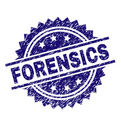 Grunge textured forensics stamp seal vector