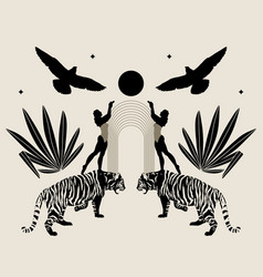Hand drawn minimalistic tigers with tropical vector