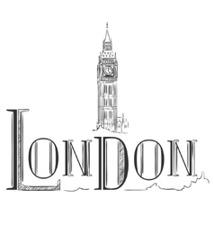 Hand drawn with big ben london vector