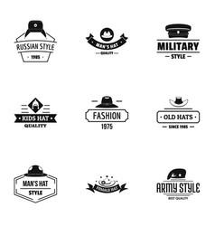 Hat fashion logo set simple style vector