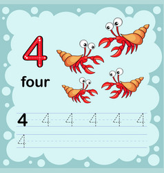 How to count and write a number four shrimp vector
