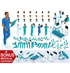 Isometric doctor african american create paramedic vector