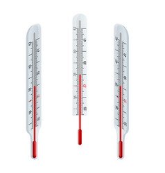 isometric glass mercury thermometer measurement vector image
