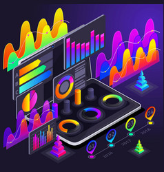 isometric holographic bright color graphics vector image