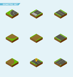 isometric way set of footpassenger flat rotation vector image